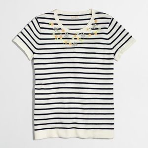 J. Crew Embellished short-sleeve striped sweater